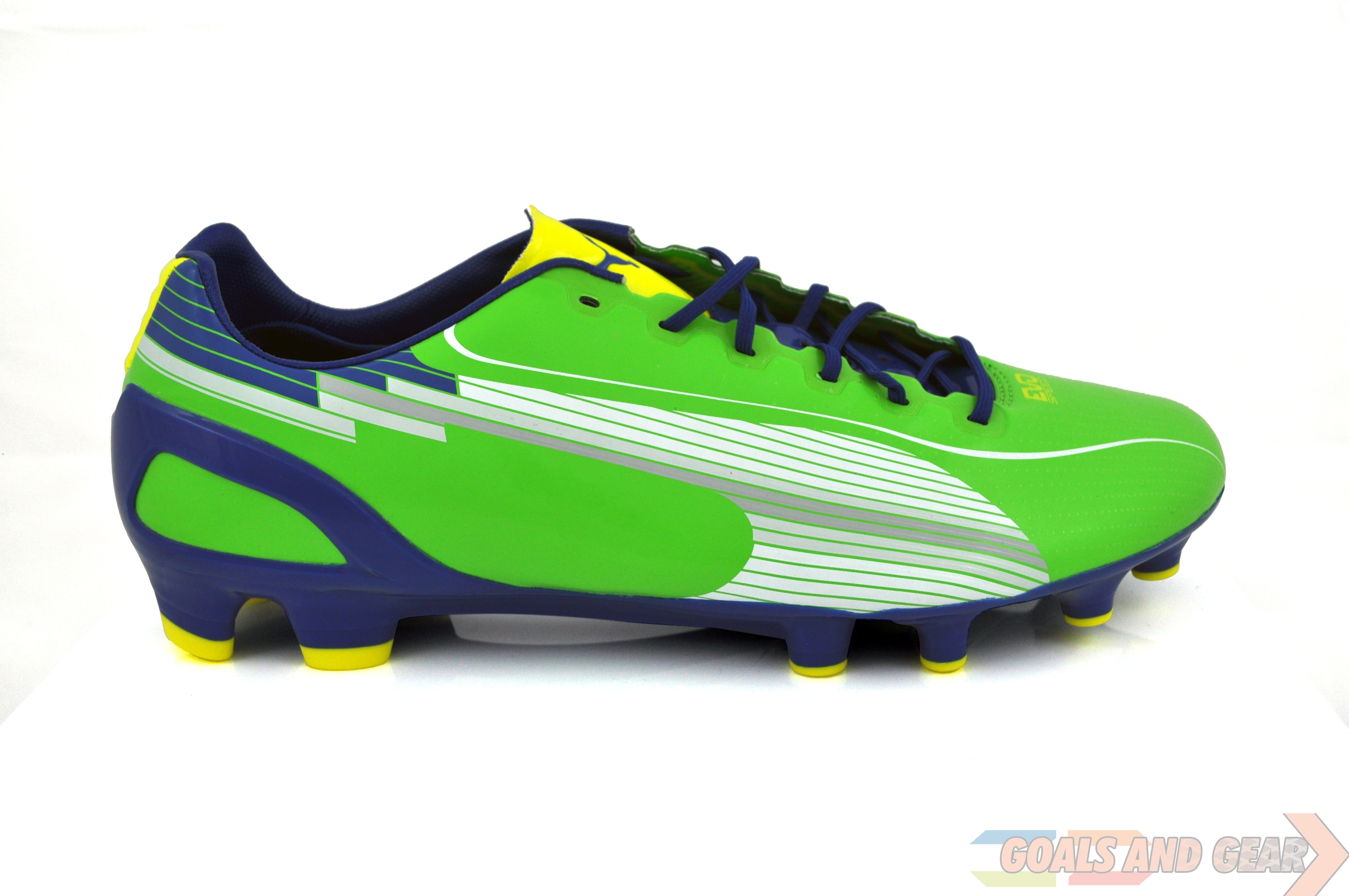 puma evospeed side view rainbow green